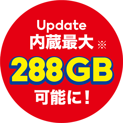 update 内臓最大288GB可能に!